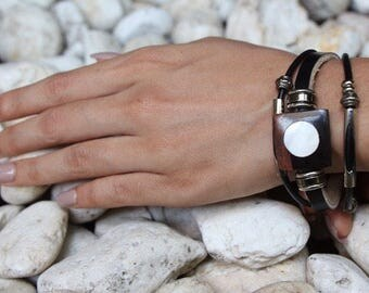 Mother Of Pearl Leather Bracelet, Brown Wooden Bead Bracelet, Metal Beads Bracelet, Unisex Bracelet, Leather Gifts, Classic Bracelet LO65/1