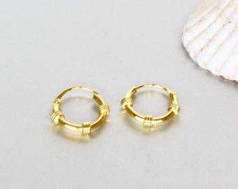 10mm Ear Hoops, Gold Plated Hoops, Bridesmaids Gift, Bohemian Hoops, Delicate Ear Hoops, Minimal Earrings, Casual Hoops, (E52)