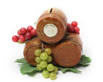 Vintage Vineyard Wine Barrels and Grapes Bank