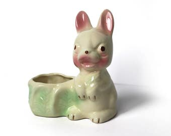Vintage Ceramic Bunny Rabbit Planter
