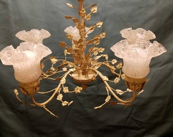 Early 1900s Vintage Ornate Chandelier