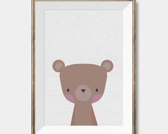 Bear wall art, Peekaboo animal,Cute Wall decor,Cute Wall Art,Nursery wall art,Baby room decor, Nursery prints,Bear Nursery Decor,Bear Poster