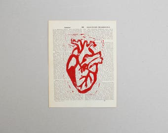 Linocut anatomical heart Red