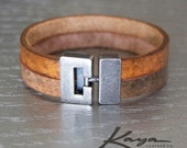 Womens Leather Bracelet Cuff Jewelry, Brushed Metal Clasp, Genuine Leather, Gift for Her, Anniversary, Birthday, Bridesmaids, Kaya Leather