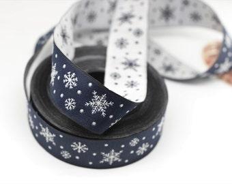 22 mm Blue Snowflake Jacquard trim (0.86 inches) - Vintage Ribbon - Decorative Craft Ribbon - Jacquard - Christmas Ribbon Trim