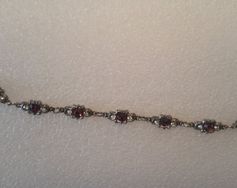 Vintage Bracelet set with Amethyst Colored Stones in White Metal