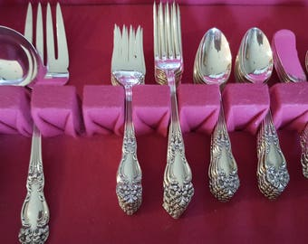 1945 Festivity Silverplate Flatware Set with Chest 59 Pieces Reed & Barton
