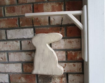 Distressed Wood Folk Spring Rabbit Easter Bunny  Primitive Hanging Decoration Medallion with Hanger