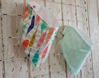 Mint Geo Arrow & Feather Inspired Bandana Bibs~Reversible~Drool Bibs~Handmade Bibs~Mint Green, Pink, Orange, White, Blue, Yellow