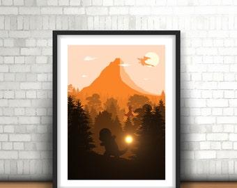 Pokemon Fire Inspired Art Print Charmander, Charmeleon And Charizard Landscape