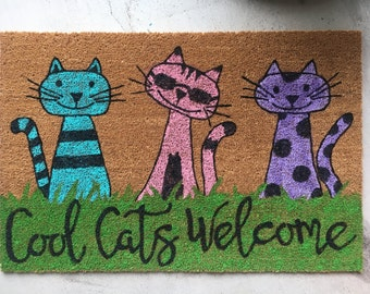 Colorful Cat Themed Door Mat (Free-Hand Painted)