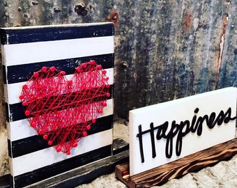 Heart String Art on Striped Plaque