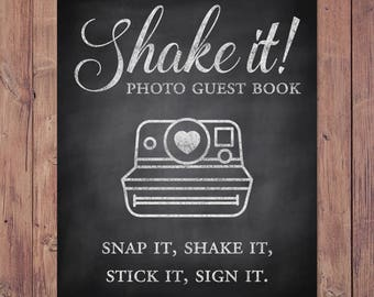 Photo guest book - Shake it like a - snap it, shake it, stick it, sign it - rustic wedding guest book - 8x10 - 5x7 - PRINTABLE