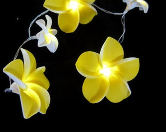 String Led Fairy Lights  #Franjipani flower #Wedding Decor, #Fairy Lights, #annniversary #bedroom lights#battery operated lights#handmade