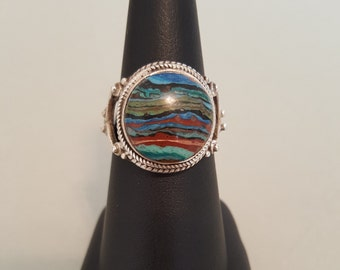 Colorful Rainbow Calsilica Sterling Silver Finger Ring - Size 8-1/4