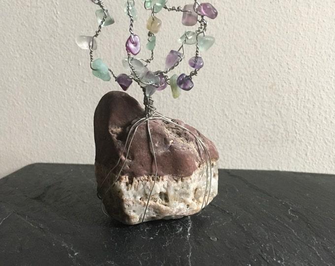 Fluorite wire tree sculpture