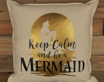 Mermaid Pillow Cover 16 x 16,  Inspired by Little Mermaid, Disney Home Decor, Disney Pillow, Disney Gift, Decorative Pillow, Throw Pillow