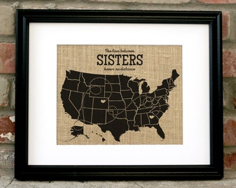 sister birthday gift cousin map gift cousin framed burlap print mother daugher map gift mother daugher burlap art print unique gifts for