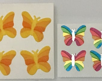 Vintage Fuzzy and Mylar Sandylion Butterfly Stickers