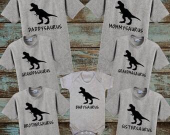 Saurus Shirts, Family Dinosaur Shirts, Daddysaurus, Mommysaurus, Sistersaurus, Brothersaurus, Babysaurus, Grandmasaurus, Grandpasaurus