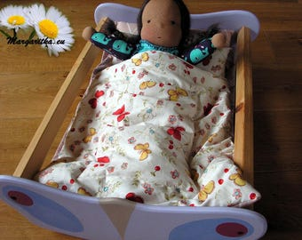 Large doll cradle, 18 inch doll cradle, crib, bed, wooden doll cot, natural bedding, waldorf toy, wooden toy, large wooden doll furniture