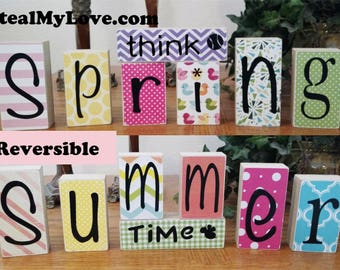 Think Spring - Summer Time: DIY Unfinished Wood n Vinyl - Think Spring and Summer Letter Decoration Kit- Reversible Blocks Letters