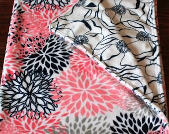 Baby Girl Minky Blanket, Flower Minky Blanket, Coral & Navy Flower Minky Baby Girl Blanket, Baby Shower Gift, Flower Bouquet Baby Blanket!!!