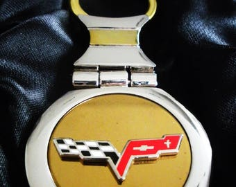 Corvette C6 18K Gold Keychain with Silver Trim-Free Engraving