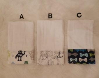 Burp Cloth, Premium Burp Cloth, Baby Gift, Baby Boy, Robots, Nautical, Bowties