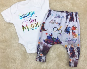 Harry Potter Baby Outfit - Harry Potter Clothes - Snuggle That Muggle - Harry Potter Clothes - Harry Potter Onesie - Harry Potter Trousers