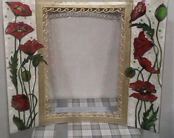 Stained glass, Glass Painting, Handmade Photo Frame, Red Poppies on White Background, Decor Item, Home Decoration