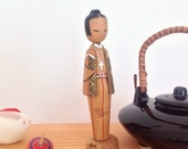 Catholic kokeshi doll in wood / Japanese kokeshi doll vintage / Missionary man wooden doll for decorative purpose / Wooden doll from Japan