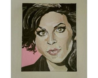 Acrylic funky Amy Winehouse illustrative painting