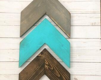Free Shipping~Chevron Arrows~Set of 3~Dark Walnut, Turquoise, Weathered Grey