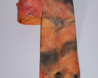 Handpainted Silktie in salmon and anthrazit (ca. 4'' x 55''), handpainted, silkpainting, one of a kind, wearable art, unique