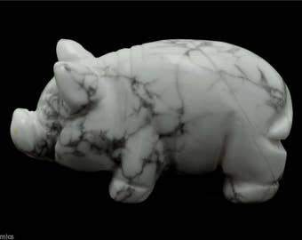 Pig White Howlite Hand Carved Gemstone Stone Animal Totem