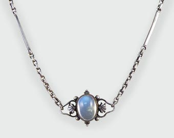 Antique Edwardian Arts and Crafts Moonstone Long Silver Necklace