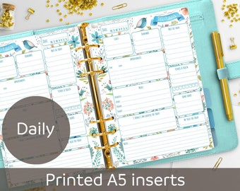 PRINTED Daily A5 Planner Inserts, Daily Planner Refill, Printed & Punched, Filofax A5, Kikki K, Carpe Diem, Color Crush, Day Organizer