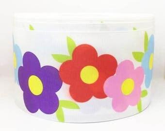 75mm 3 inch flower grosgrain ribbon. Crafts-sewing-embellishments-cards-scrapbooking-cabochon-flatbacks-ribbon