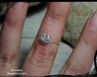 Ring half finger handmade in natural brass or silver-plated copper wire with rose little elegant discreet ring gift idea for her