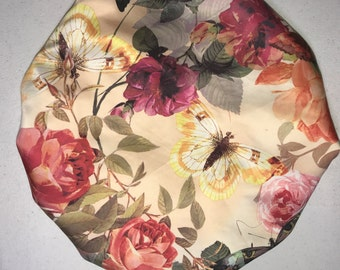 Butterflies and Flowers Satin Bonnet