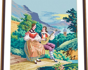 Pair among a landscape- BERLIN WOOLWORK embroidery pattern, Cross stitch, Needlepoint Tapestry pattern, PDF - instant download
