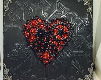 Flaming heart mixed media canvas