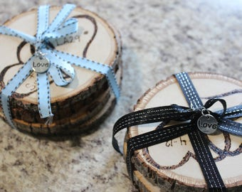 """Personalized Basswood """"Love"""" Coasters"""