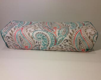 Cricut Explore/ Air/ Air 2/ One Custom Handmade Gray, White, Teal and Coral Paisley Dust Cover with Teal Piping