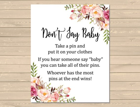 floral boho dont say baby printable game floral