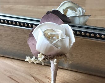 Rose gold boutonnière, Magnetic boutonniere, Groom boutonniere, mens wedding flower, flower for groom, groom flower, rose gold wedding