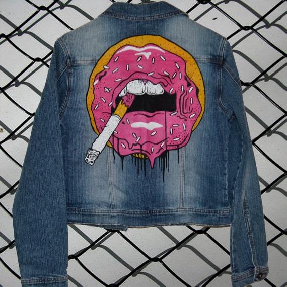 Sale Hand Painted Denim Jacket Donut Lips Painted