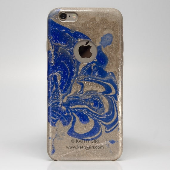 Gold Blue Leather Case for iPhone 6