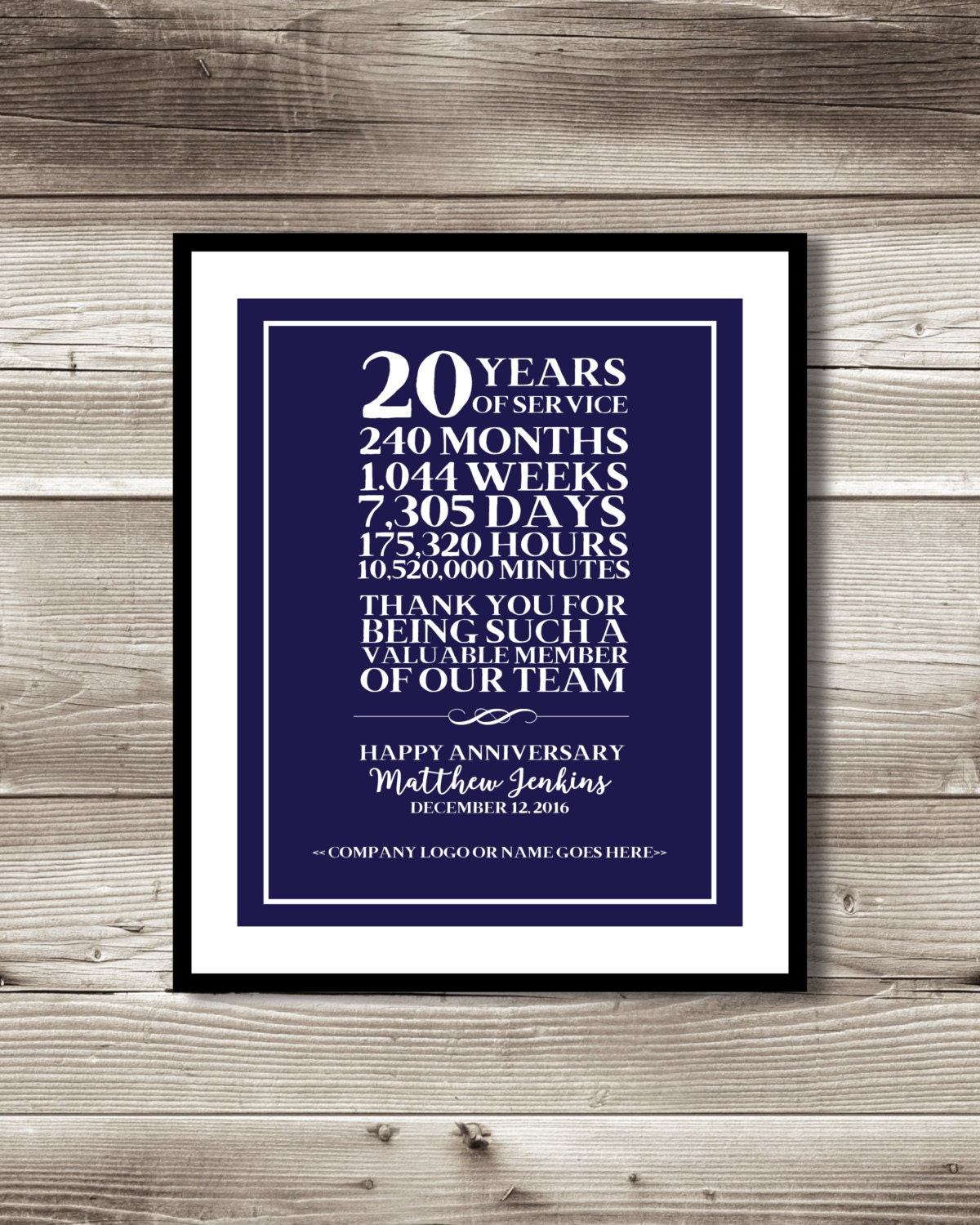 20 year work anniversary print gift digital print for What do you give for a 20 year anniversary